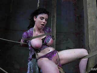 Horny master puts his busty slave in categorical bondage and punishes her pussy