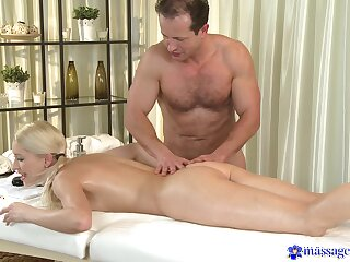 Young beauteous lets older masseur to fuck their way in insane modes