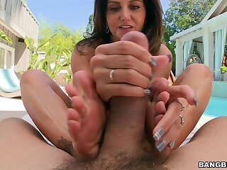 Naughty babe Ava Addams gives a feetjob and gets fucked with make an issue of butt