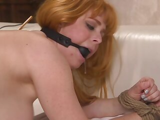 Cougar is gagged added to gets banged not far from the doggy style position