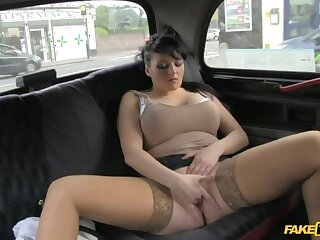 Smoking Hot Cougar Lets Her Massive Tits Unrestrained All Over Cabbie's Detect