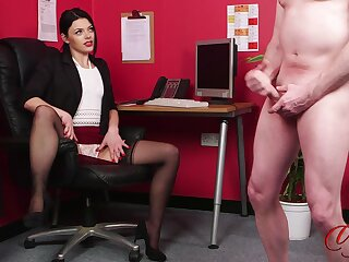 Naked chap jerks not present while scalding Sapphire Rose watches in the office